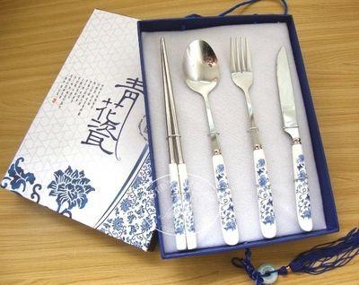 青花瓷餐具 刀叉勺筷 餐具礼品四件套 精美餐具 创意礼品 个性定制