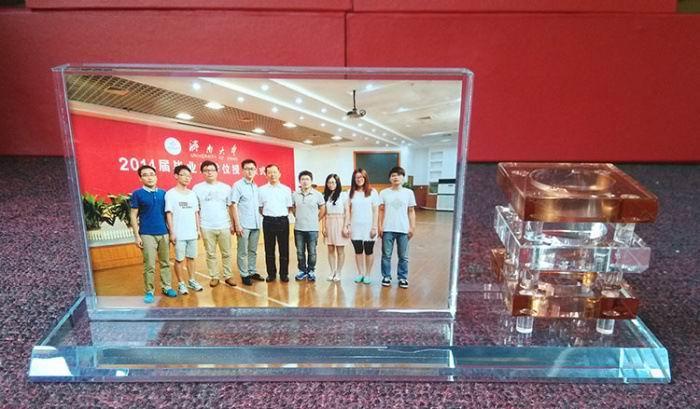 成都定制创意水晶相框笔筒 同学聚会 同学聚会公司纪念品 大学毕业纪念品 水晶摆件两件套 成都礼品定制