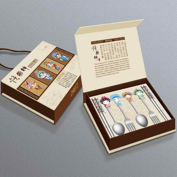 京剧脸谱餐具六件套 叉勺筷套装 不锈钢餐具定制